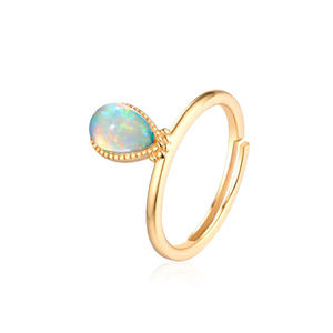 Opal Solitaire Engagement Ring Plain Silver Band